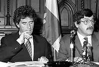 Montreal (Qc) CANADA - June 8 1984- Jack Lang, Minister of Culture, France (L) in a press conference with Clement Richard,Minister of Cultural Affaires , Quebec