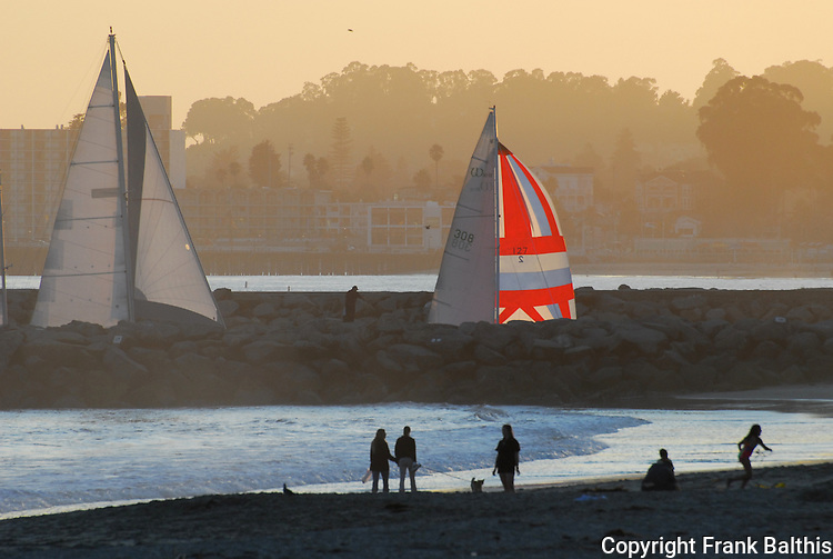 Sailing at Santa Cruz Harbor
