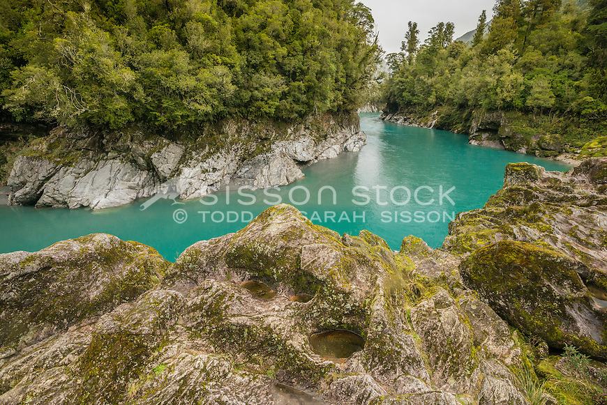 Hokitika Gorge, West Coast, New Zealand - stock photo, canvas, fine art print