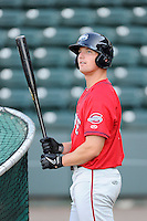Outfielder/left fielder Zach Kapstein (40) of the Greenville Drive waits his turn for batting practice on the team's Media Day first workout on Tuesday, April 1, 2014, at Fluor Field at the West End in Greenville, South Carolina. (Tom Priddy/Four Seam Images)
