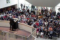A standing room only crowd  listens to Master of Ceremonies Seamus Malin at the 2004 National Soccer Hall of Fame Induction Ceremony on Monday October 11, 2004 at the National Soccer Hall of Fame and Museum, Oneonta, NY..