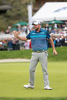 26th January 2020, Torrey Pines, La Jolla, San Diego, CA USA;  Marc Leishman acknowledges the crowd after making his final putt during the final round of the Farmers Insurance Open at Torrey Pines Golf Club on January 26, 2020 in La Jolla, California.