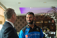 Picture By Allan McKenzie/SWpix.com - 05/04/18 - Cricket - Cheteshwar Pujara Press Conference - Aagrah Leeds, Leeds, England - Cheteshwar Pujara at the Aagrah Leeds with Mark Arthur.