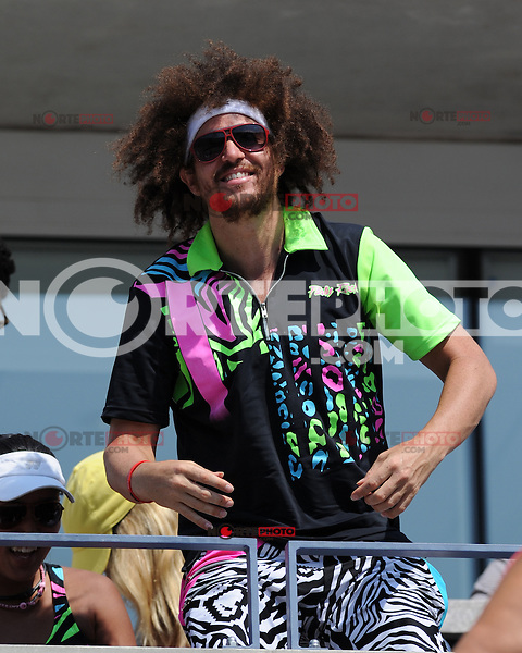 August 29, 2012: Stefan Kendal Gordy, aka Redfoo of LMFAO watching the Fish Vs Davydenko match at Arthur Ashe Stadium at the USTA Billie Jean King National Tennis Center in New York City. ..&copy; mpi04 / Mediapunchinc /NortePhoto.com<br />