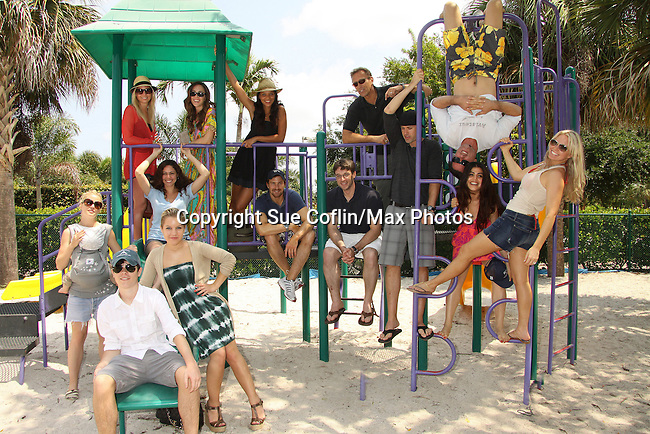 Back: Stephanie Gatschet, Christina Lind, Denise Vasi, Walt Willey  2nd Row: Jessica Leccia, Josh Kelly, Tom Degnan, John Driscoll, Shenaz Treasury, Austin Peck, Terri Conn, front: Bree Williamson, Kristen and Eddie Alderson at the Painting Party on May 14, 2011 on Marco Island, Florida - SWSL Soapfest Charity Weekend May 14 & !5, 2011 benefitting several children's charities including the Eimerman Center providing educational & outreach services for children for autism. see www.autismspeaks.org. (Photo by Sue Coflin/Max Photos)