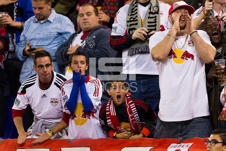 New York Red Bulls fans. The New York Red Bulls and Sporting Kansas City played to a 0-0 tie during a Major League Soccer (MLS) match at Red Bull Arena in Harrison, NJ, on October 20, 2012.