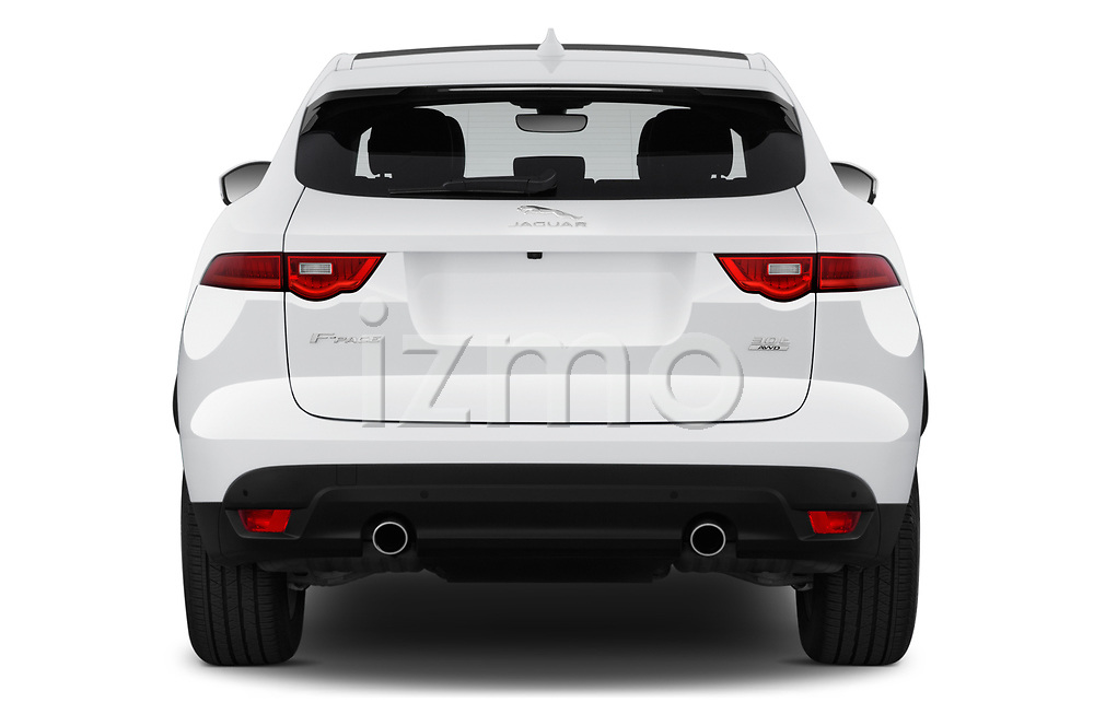 Straight rear view of 2019 Jaguar F-Pace Prestige 5 Door SUV Rear View  stock images