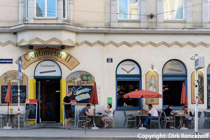 Restaurant + Beisl Centimeter II stftsgasse 4 im Szeneviertel Quartier Spittelberg, Wien, &Ouml;sterreich, UNESCO-Weltkulturerbe<br /> Restaurant at Quarter Spittelberg, Vienna, Austria, world heritage