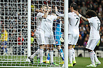 Real Madrid´s Karim Benzema celebrates a goal with Arbeloa and his team mates during La Liga match at Santiago Bernabeu stadium in Madrid, Spain. February 14, 2015. (ALTERPHOTOS/Victor Blanco)
