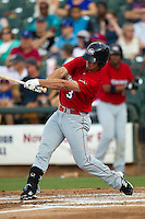 Oklahoma City RedHawks designated hitter Jake Goebbert #3 swings during the Pacific Coast League baseball game against the Round Rock Express on June 15, 2012 at the Dell Diamond in Round Rock, Texas. The Express shutout the RedHawks 2-1. (Andrew Woolley/Four Seam Images).