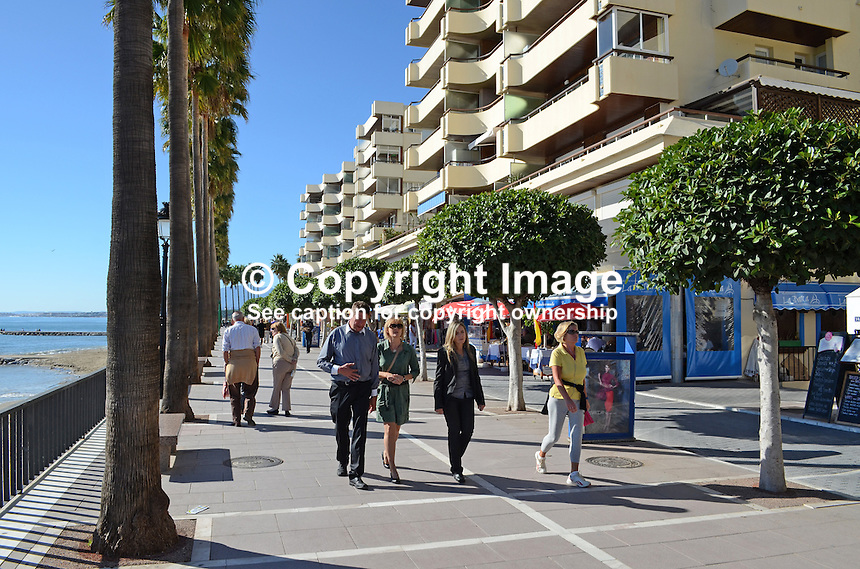 Paseo Maritimo, promenade, esplanade, seafront, Marbella, Spain, palms, restaurants, bars, 201211130901..Copyright Image from Victor Patterson, 54 Dorchester Park, Belfast, UK, BT9 6RJ..Tel: +44 28 9066 1296.Mob: +44 7802 353836.Voicemail +44 20 8816 7153.Skype: victorpattersonbelfast.Email: victorpatterson@me.com.Email: victorpatterson@ireland.com (back-up)..IMPORTANT: If you wish to use this image or any other of my images please go to www.victorpatterson.com and click on the Terms & Conditions. Then contact me by email or phone with the reference number(s) of the image(s) concerned.