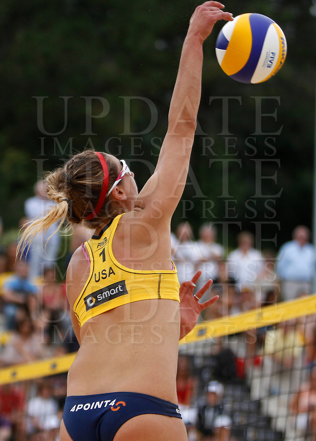 April Ross, of the United States, in action at the Beach Volleyball World Tour Grand Slam, Foro Italico, Rome, 22 June 2013. United States defeated Italy 2-0. UPDATE IMAGES PRESS/Isabella Bonotto