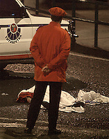 Two autonomous Basque police were killed by ETA in Beasain, 23th November 2001..Photo: Ander Gillenea.