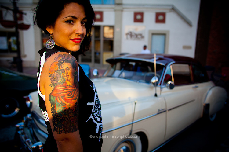 April Diaz is a derby girl with the Monterey Bay Derby Dames. Photographed on the street in Salinas, California.