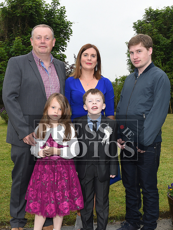 Alan O'Rourke McDonnell who received first holy communion in St Joseph's church Mell, pictured with his family. Photo:Colin Bell/pressphotos.ie