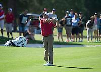 Adam Scott of Australia in action during his third round at the Emirates Australian Open Golf