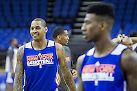 16.01.2013 London, England. New York Knicks forward Carmelo Anthony (7) and New York Knicks point guard Iman Shumpert (21) in action during team practice ahead of the NBA London Live 2013 game between the Detroit Pistons and the New York Knicks from The O2 Arena