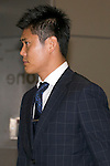 """Japan national football team,Eiji Kawashima, June 27, 2014, Chiba, Japan - Eiji Kawashima arrives at Narita International Airport with other members of the Japan national football team. Members of the Japan national football team arrives at Narita with a disappointed look on their faces. They couldn't advance to the final 16 in """"2014 FIFA World Cup Brazil"""" and came back earlier. (Photo by Rodrigo Reyes Marin/AFLO)"""