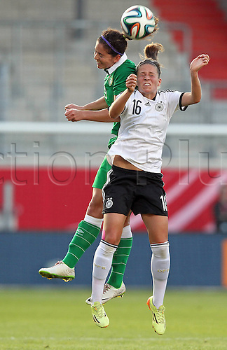 17.09.2014. Heidenheim, Germany. Womens World Cup football qualifier. Germany versus Republic of Ireland.  Fiona O Sullivan (Ireland) and Melanie Leupolz (Ger)