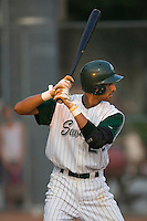 Third baseman Joaquin Rodriguez (22) of the Savannah Sand Gnats at bat at Grayson Stadium in Savannah, GA, Wednesday August 6, 2008  (Photo by Brian Westerholt / Four Seam Images)