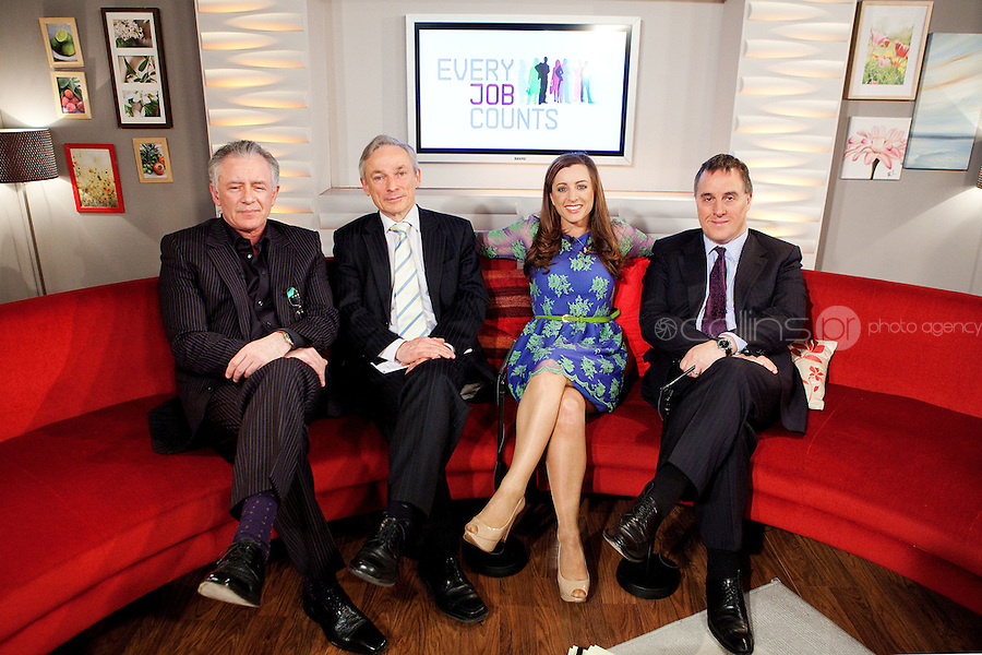 NO REPRO FEE. 7/4/2011. Minister Richard Bruton launches TV3's 'Every Job Counts' campaign.  Mark Cagney, The Minister for Enterprise, Jobs and Innovation, Richard Bruton, Sinead Desmond and TV3 Chief Executive David McRedmond are pictured at TV3 Studios during an interview for Ireland am in order to launch TV3's new campaign - Every Job Counts'  which aims to highlight and publicise Irish based companies which are creating new jobs in these tough economic times. During April TV3 will highlight the Trojan work undertaken by thousands of Irish businesses which strive to exploit the opportunities which can come out of economic decline and stagnation and which endeavor to grow turnover and employment. Businesses big and small are urged to log onto TV3.ie/Everyjobcounts  and tell us how many jobs they have created recently or over the past 12 months and how they managed to do it against all the odds. The most inspiring stories will be filmed and broadcast on TV3's News at 5.30, Ireland am and Midweek during the month. As a further source of assistance and help, TV3 will offer a EUR50,000 advertising and promotional bursary for the most inspiring story of job creation we receive over the course of the month. Details on how to enter TV3's Every Job Counts campaign can be found at:  www.tv3.ie/everyjobcounts Picture James Horan/Collins Photos