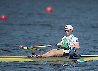 Rotterdam. Netherlands.   Non Olympic Classes World Championships, Finals.  IRL LM1X.   Paul O'DONOVAN, sculls away with the Gold Medal round his neck.  at the Willem-Alexander Baan.   Saturday  27/08/2016 <br /> <br /> [Mandatory Credit; Peter SPURRIER/Intersport Images]
