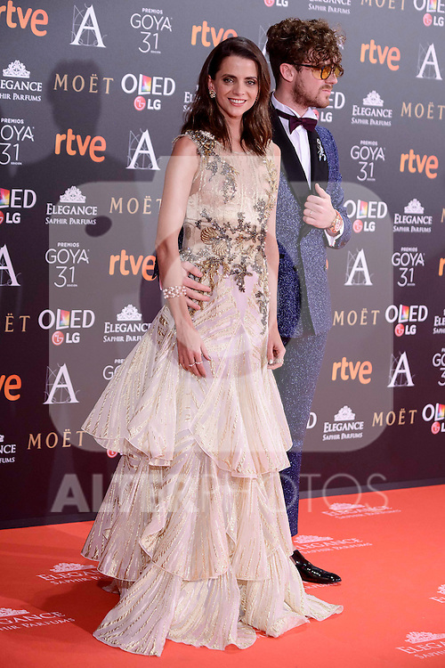 Macarena Gomez and Aldo Comas attends to the Red Carpet of the Goya Awards 2017 at Madrid Marriott Auditorium Hotel in Madrid, Spain. February 04, 2017. (ALTERPHOTOS/BorjaB.Hojas)