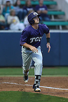 Keaton Jones (26) of the TCU Horned Frogs runs to first base during a game against the Loyola Marymount Lions at Page Stadium on March 16, 2015 in Los Angeles, California. TCU defeated Loyola, 6-2. (Larry Goren/Four Seam Images)