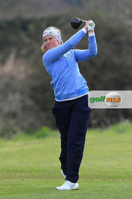 Ebba Nilsson (SWE) on the 8th tee during Round 3 of The Irish Girls Open Strokeplay Championship in Roganstown Golf Club on Sunday 19th April 2015.<br /> Picture:  Thos Caffrey / www.golffile.ie
