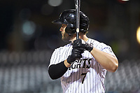 Daniel Palka (7) of the Charlotte Knights at bat against the Buffalo Bisons at BB&T BallPark on July 24, 2019 in Charlotte, North Carolina. The Bisons defeated the Knights 8-4. (Brian Westerholt/Four Seam Images)