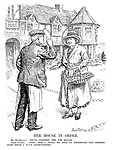 """Her House in Order. Mr MacDonald. """"We've finished the job, Madam."""" Dame Europa. """"Good. Now I shall be able to entertain the friends from whom I have expectations."""" (A sign inviting guests reads 'Reparations Executed by MacDonald, Herriot and Co. - Atlantic View'. MacDonald is represented as a working class builder)"""