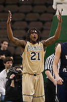 February 24, 2012:    Jacksonville Dolphins forward Delwan Graham (21) reacts to a called foul during Atlantic Sun Conference action between the Jacksonville Dolphins and the North Florida Ospreys at Veterans Memorial Arena in Jacksonville, Florida. North Florida defeated Jacksonville 70-64.
