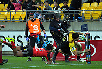 Vaea Fifita scores during the Super Rugby match between the Hurricanes and Crusaders at Westpac Stadium in Wellington, New Zealand on Saturday, 15 July 2017. Photo: Dave Lintott / lintottphoto.co.nz