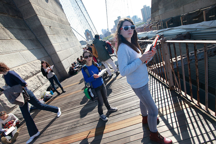 NEW YORK - GMWS 7th grade class trip to the Brooklyn Bridge, Brooklyn/Manhattan, NY, on Tuesday, October 18, 2011...PICTURED:  ....(Photo by Angel Chevrestt, 646.314.3206)..