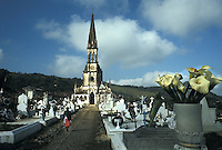 Mexico, Puebla State, church and cemetery of Cuetzalan town..