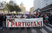 Roma, 24 Novembre 2012.Presidio e corteo antifascista contro la manifestazione di Casapound..I partigiani