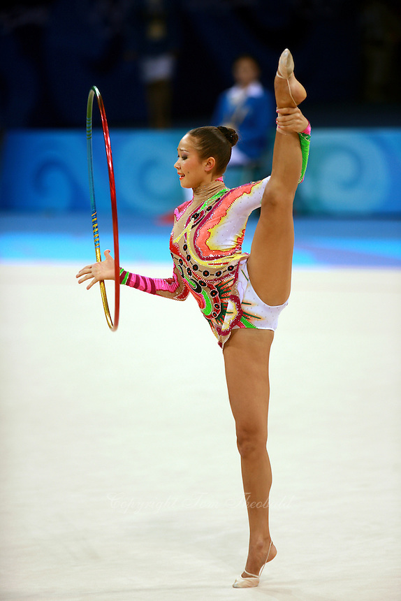August 23, 2008; Beijing, China; Rhythmic gymnast Aliya Garaeva of Azerbaijan performs with hoop on way to placing 6th in the Individual All-Around final at 2008 Beijing Olympics..
