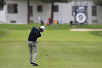 Ricardo Gouveia (POR) plays his 2nd shot on the 9th hole during Sunday's storm delayed Final Round 3 of the Andalucia Valderrama Masters 2018 hosted by the Sergio Foundation, held at Real Golf de Valderrama, Sotogrande, San Roque, Spain. 21st October 2018.<br /> Picture: Eoin Clarke | Golffile<br /> <br /> <br /> All photos usage must carry mandatory copyright credit (&copy; Golffile | Eoin Clarke)