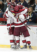 - The Harvard University Crimson defeated the visiting Bentley University Falcons 3-0 on Saturday, October 26, 2013, in Harvard's season opener at Bright-Landry Hockey Center in Cambridge, Massachusetts.