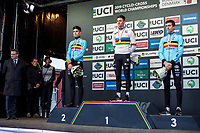 Men's Elite podium:<br /> <br /> 1. Mathieu Van der Poel (BEL)<br /> 2. Wout Van Aert (BEL)<br /> 3. Toon Aerts (BEL)<br /> <br /> UCI 2019 Cyclocross World Championships<br /> Bogense / Denmark<br /> <br /> <br /> ©kramon