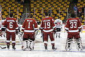 Ryan Grimshaw (Harvard - 6), John Riley (Harvard - 1), Alex Killorn (Harvard - 19), Kyle Richter (Harvard - 33) - The Northeastern University Huskies defeated the Harvard University Crimson 4-1 (EN) on Monday, February 8, 2010, at the TD Garden in Boston, Massachusetts, in the 2010 Beanpot consolation game.