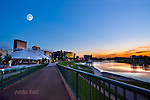 Dayton Ohio sunset of skyline through Riverscape - under moon