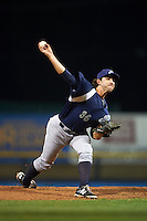 Pensacola Blue Wahoos pitcher Zack Weiss (36) delivers a pitch during a game against the Mississippi Braves on May 28, 2015 at Trustmark Park in Pearl, Mississippi.  Mississippi  defeated Pensacola 4-2.  (Mike Janes/Four Seam Images)