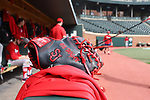 CHAPEL HILL, NC - FEBRUARY 21: Baseball glove of Saint John's Ryan Hogan (not pictured). The University of North Carolina Tar heels hosted the Saint John's University Red Storm on February 21, 2018, at Boshamer Stadium in Chapel Hill, NC in a Division I College Baseball game. St John's won the game 5-2.