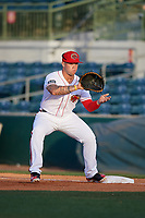 Florida Fire Frogs first baseman Braxton Davidson (24) waits to receive a throw during a game against the Palm Beach Cardinals on May 1, 2018 at Osceola County Stadium in Kissimmee, Florida.  Florida defeated Palm Beach 3-2.  (Mike Janes/Four Seam Images)