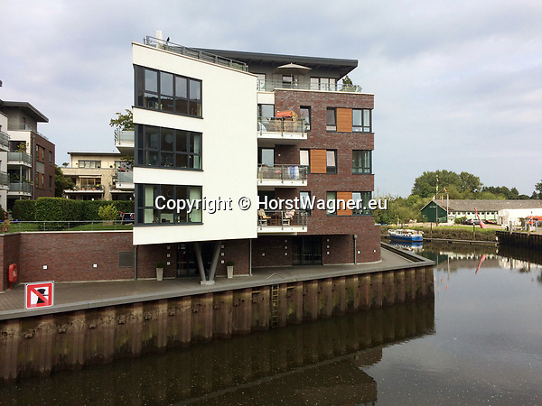 Germany, Buxtehude -- August 26, 2017 -- New modern architecture / apartment buildings near the harbor at river Este -- © HorstWagner.eu