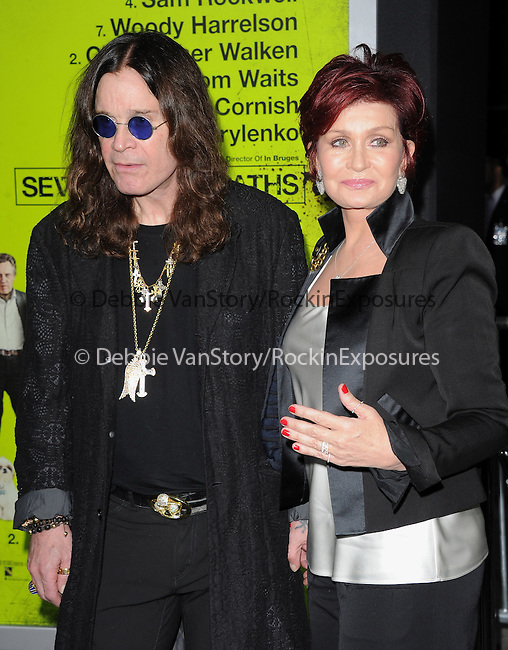 Sharon Osbourne and Ozzy Osbourne at The CBS Films L.A. Premiere of Seven Psychopaths Premiere held at The Bruin Theatre in Westwood, California on October 01,2012                                                                               © 2012 Hollywood Press Agency