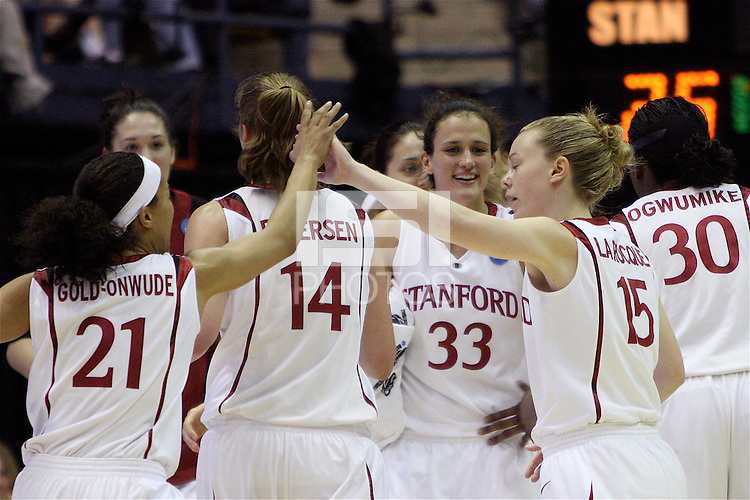 BERKELEY, CA - MARCH 30: Ros Gold-Onwude, Kayla Pedersen, Jillian Harmon, Lindy LaRocque, Nneka Ogwumike, Sarah Boothe celebrate during Stanford's 74-53 win against the Iowa State Cyclones on March 30, 2009 at Haas Pavilion in Berkeley, California.