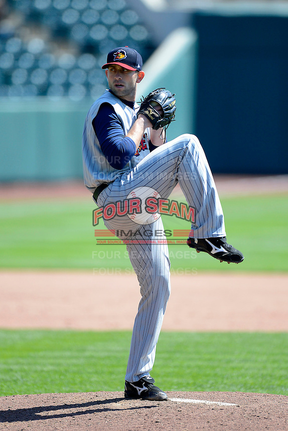 Toledo Mudhens pitcher Duane Below #15 during a game against the Columbus Clippers on April 22, 2013 at Huntington Park in Columbus, Ohio.  Columbus defeated Toledo 3-0.  (Mike Janes/Four Seam Images)