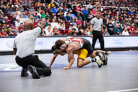 STANFORD, CA - March 7, 2020: Brandon Courtney of Arizona State University and Jackson DiSario of Stanford during the 2020 Pac-12 Wrestling Championships at Maples Pavilion.